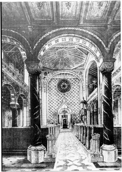 19th century rendering of Mannheim Synagogue, interior.  The side arches and balcony are visible in this drawing.  Compare following photographs.
