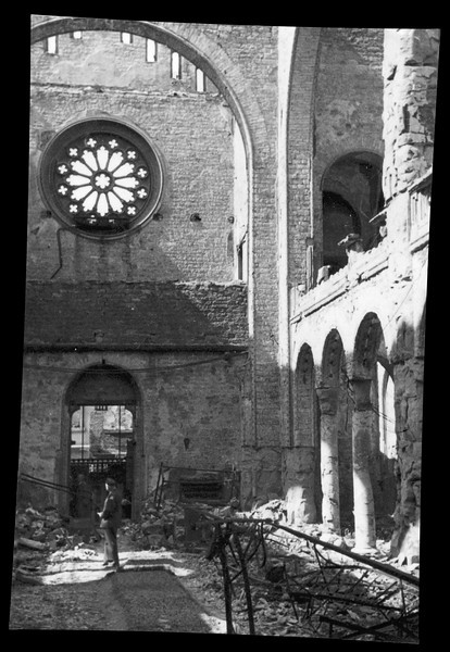 Interior photograph of the synagogue of Mannheim, Germany, taken on 14 November 1938, just days after its destruction during Kristallnacht on 9-10 November 1938.  Photographer unknown.  The image was in the possession of the synagogue's cantor, Hugo Chaim Adler, who served the synagogue from the early 1920s until its destruction. (Image restored and lens correction applied; original image follows).