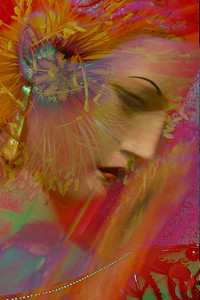Lovely senorita.  This montage used two photographs, one of a mannequin in an antique shop, the second is a flower photograph.