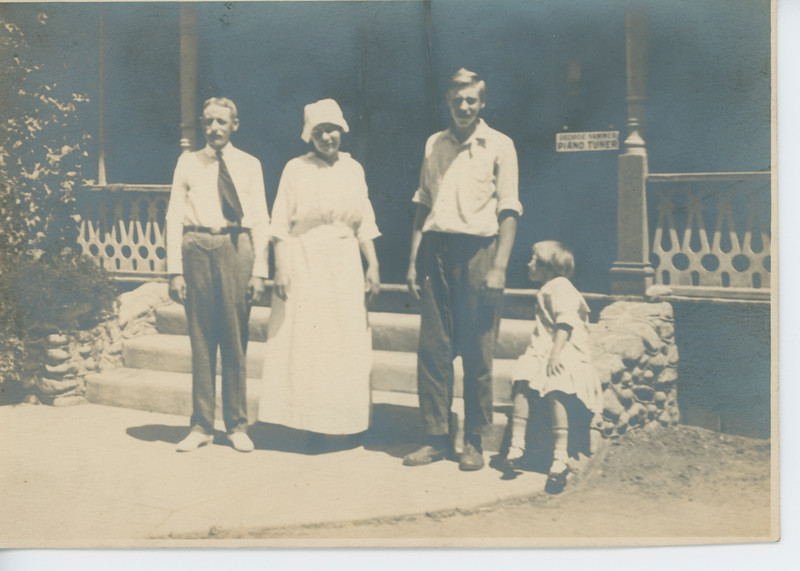 Family Outside Their House in Los Angeles ca 1919 - BEFORE RESTORATION