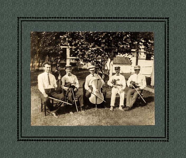 Musicians in the Backyard Somewhere ca 1920 - After  Restoration
