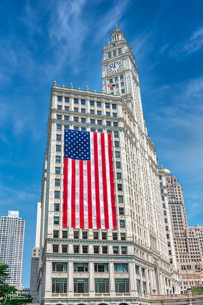 Wrigley Building & Flag 2020 WM - John O'Neill Photography