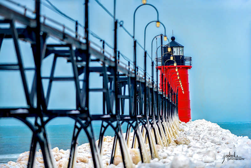 Lighthouse at South Haven In Winter 2020 Update - John O'Neill WM