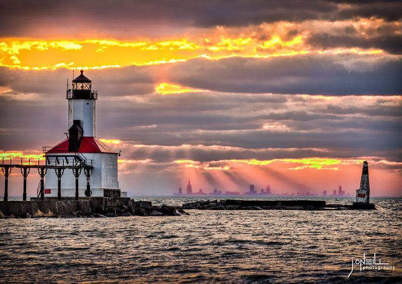 God Rays on Chicago From Michigan City - John O'Neill  WM