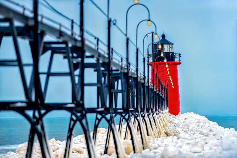 Lighthouse at South Haven In Winter 2020 Update - John O'Neill_