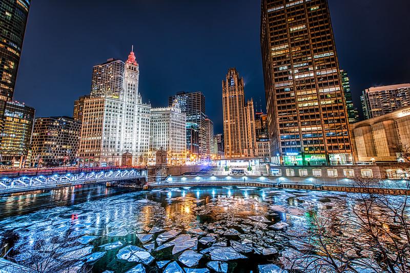 Frigid Night on the Icy River - John O'Neill Photography