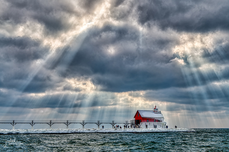 The Heavens Over the Pier at Grand Haven WM - John O'Neill Photography