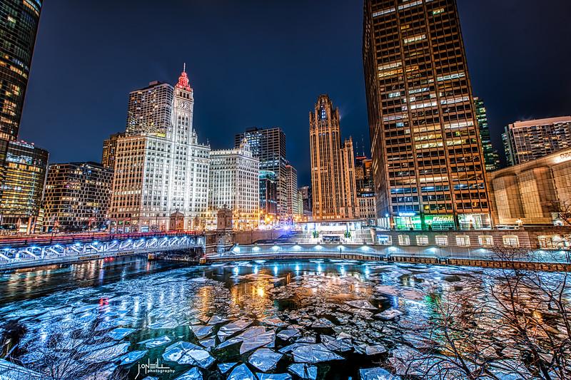 Frigid Night on the Icy River WM - John O'Neill Photography