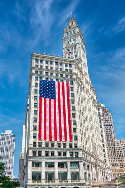 Wrigley Building & Flag 2020 - John O'Neill Photography