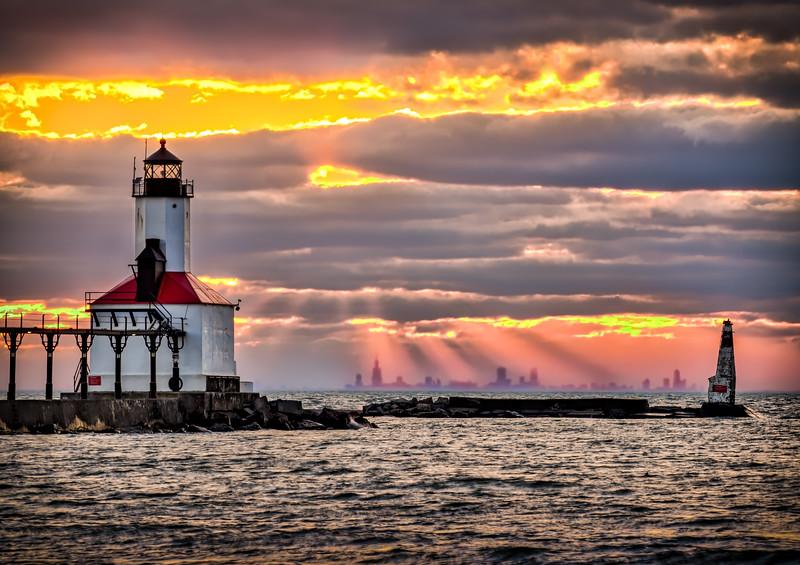 God Rays on Chicago From Michigan City - John O'Neill