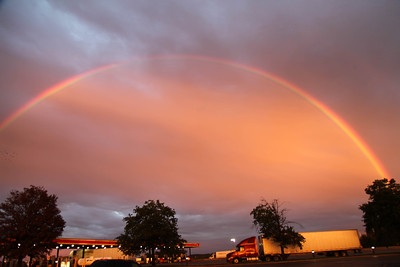 Sunset rainbow over Interstate 65 Southern IN