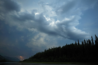 Lightning and storm clouds above the South Nahanni River.