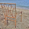 Nov 4 2012<br />  One week after the little tsunami, Walking the beach looking for things washed up.<br /> Lots of little chunks of wood. And here is a old chair just waiting me after a long walk. <br /> Have a great Sunday.