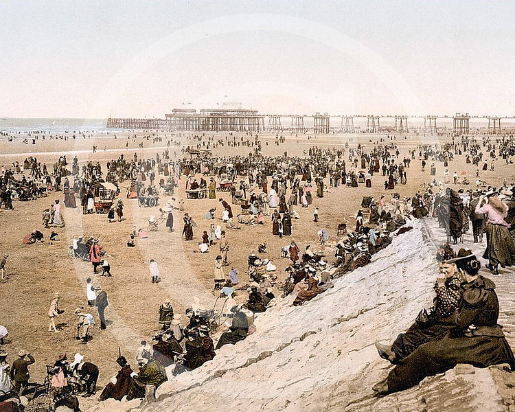 Blackpool Beach with North Pier, Lancashire.