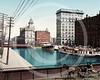 Erie Canal at Salina Street, Syracuse, New York 1900.
