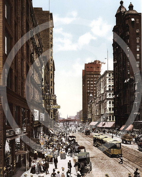 State Street North from Madison, Chicago 1900.