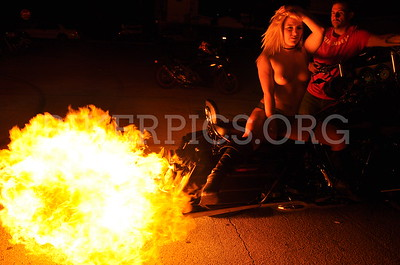 FIRE GIRL AND CROWD PICS BIKEWEEK 2016