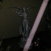 This is a still image of The Light of Archangel Gabriel descending over my large Angel statue; captured on video the evening of July 19, 2016. Can you see all the golden energy in his Light and throughout the image?