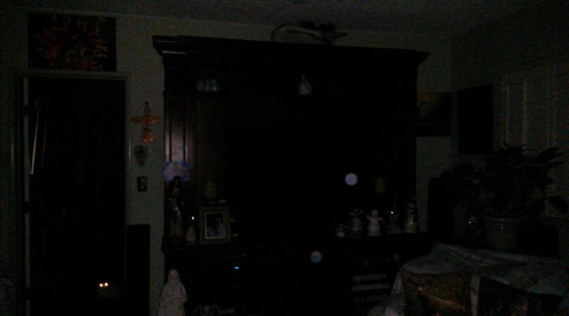 This is one still image, of eight images presented, of The Light of Jesus (blue orb) and Archangel Michael; as captured on video the evening of September 12, 2018.