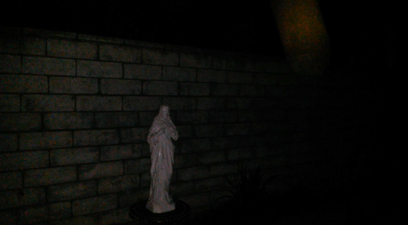 This is one still image, of three images presented, of The Light of Jesus descending by my Jesus statue; as captured on video the evening of September 2, 2017.