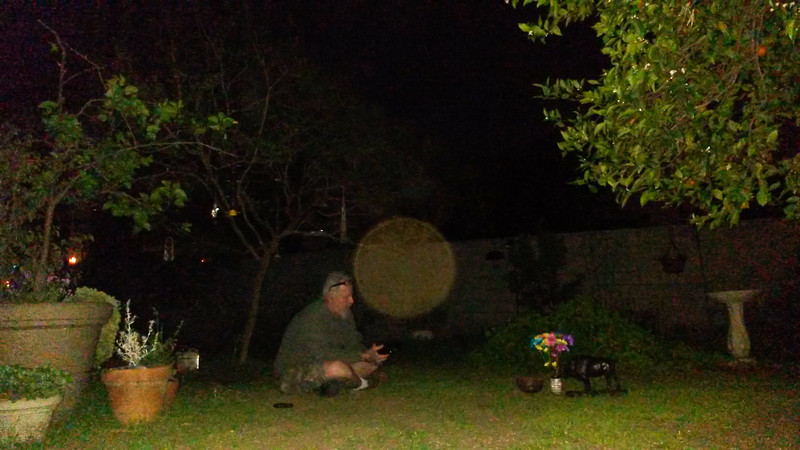 This photograph was taken on the night of the Full Moon on March 16, 2014. My brother was in my backyard and he had placed flowers on the lawn as a gift of gratitude to The Light. Next to the flowers is my brother's sage bowl and a buffalo statue, which my brother brought to honor the Gabrielino/Tongva Indians that originally occupied the land that my home is built on. In the very beginning of my journey photographing The Light, my brother was my lone support system and I would often ask him to come to my home so I could photograph him to see what would happen. Since there was a great deal of Light activity in my yard, we thought that perhaps it was the history of the land that was attracting The Light. Thus, the sage bowl and buffalo, offered as gifts for the Indians that first lived on the land. But, after April 29, 2014, when I left my yard and photographed The Light on public land, I realized that it was actually me and my thoughts that was attracting The Light.<br /> <br /> So, on this Full Moon night, this huge golden orb, which is The Light of Jesus, was the most humbling and memorable image captured that evening. As I pressed the shutter button, I actually saw The Light descend towards my brother. Note the speckled red and green energy within His Light and the red energy on the right hand side of the wall in the background. When I shared this image with my brother, he told me that at that moment he had been silently giving thanks to The Lord for his life.