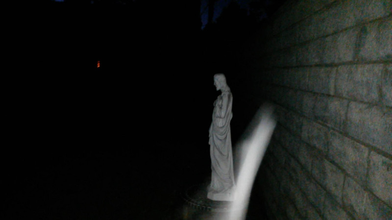 This is one still image, of two images presented, of The Light of Jesus ascending over my Jesus statue; as captured on video the evening of the Full Moon on August 18, 2016.