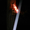 The Light of Jesus, descending by my Pecan tree, was captured on video the evening of the full moon, June 13, 2014.  The wooden cross and two burning candles were placed on the wooden munch box I have mounted to my Pecan tee. As I mentioned earlier in one of my captions, The Light loves the energy of my trees, so I often feature them in my photography.