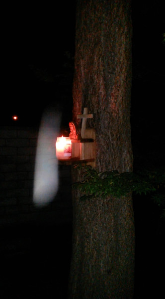 This is one still image, of two images presented, of The Light of Jesus, captured on video taken on the evening of May 16, 2014. Jesus appeared at the top of the Pecan tree and literally descended and dive bombed in front of my camera! There was a large flash of Light when He came down.  <br /> <br /> On this evening, I had placed my Jesus bust (that I bought in Paris in the year 2000), a wooden cross, and a burning white candle on the munch box I have mounted on my Pecan tree. NOW, BE SURE AND LOOK AT THE NEXT TWO IMAGES TO SEE THE HUMOR OF JESUS REGARDING THE BUST ON THE MUNCH BOX.