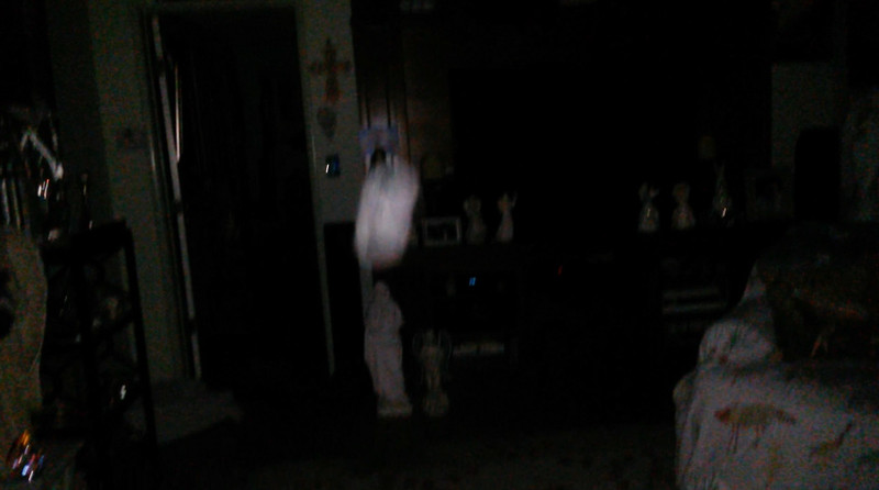 This is a still image of The Light of Mother Mary over my Mother Mary statue; as captured on video the evening of April 25, 2019.