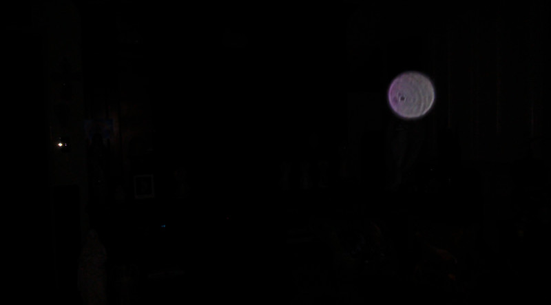 This is a still image of Archangel Ariel; as captured on video the evening of August 9, 2019.  This image has been underexposed to show the pink coloration of Ariel's Light in the dark.