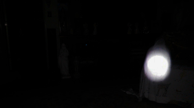 This is the previous image of Mother Mary, but I under exposed the image so you could see her Light in the dark; as captured on video the evening of April 18, 2019.