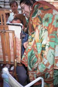 Shri Mataji has Her portrait drawn, Montecatini Italy, 28 October 1989 (Herbert Reininger photo)