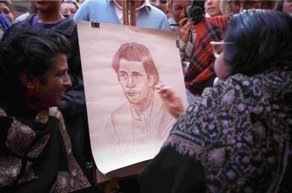 Shri Mataji has Her portrait drawn, Montecatini Italy, 28 October 1989 (Herbert Reininger photo)