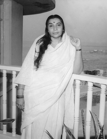 "Beach house, Bombay (Mumbai) ""This photo was taken after I opened the collective Sahasrara chakra. I even look a bit sad. I look very serious in this photo."""