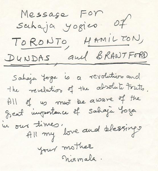 Letter to Toronto Sahaja Yogis