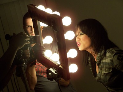 "Milkanette Ramos of MILKA performing during the making of their music video for ""ON YOUR OWN"" Directed by Carl Verna"
