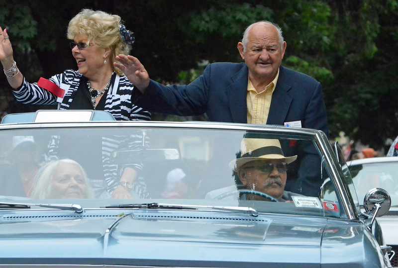 KYLE MENNIG - ONEIDA DAILY DISPATCH Dickie Di Veronica gestures to the crowd during the International Boxing Hall of Fame Induction Weekend Parade of Champions in Canastota on Sunday, June 12, 2016.