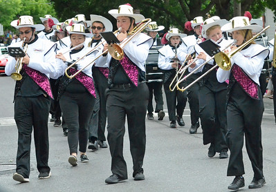 KYLE MENNIG - ONEIDA DAILY DISPATCH The Canastota marching band marches in the International Boxing Hall of Fame Induction Weekend Parade of Champions in Canastota on Sunday, June 12, 2016.