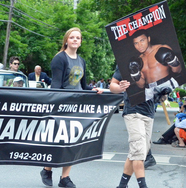 KYLE MENNIG - ONEIDA DAILY DISPATCH A tribute to Muhammad Ali during the International Boxing Hall of Fame Induction Weekend Parade of Champions in Canastota on Sunday, June 12, 2016.