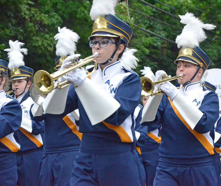 KYLE MENNIG - ONEIDA DAILY DISPATCH The Altmar-Parish-Williamstown marching band marches in the International Boxing Hall of Fame Induction Weekend Parade of Champions in Canastota on Sunday, June 12, 2016.