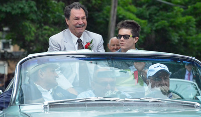 KYLE MENNIG - ONEIDA DAILY DISPATCH Billy Backus smiles at the crowd during the International Boxing Hall of Fame Induction Weekend Parade of Champions in Canastota on Sunday, June 12, 2016.