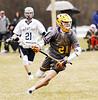 STAN HUDY - SHUDY@DIGITALFIRSTMEDIA.COM<br /> Ballston Spa's Austin Dekewicz brings the ball up the field against Saratoga in Suburban Council action Friday, April 7 at PBA Fields in Saratoga.