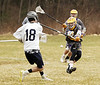 STAN HUDY - SHUDY@DIGITALFIRSTMEDIA.COM<br /> Ballston Spa defender Theo King clamps down on Saratoga Springs attack Griffin Taylor's shot during Suburban Council action Friday, April 7 at PBA Fields in Saratoga.