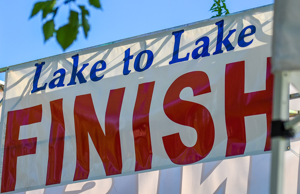 . The finish line awaits competitors of  the Lake to Lake Triathlon on Saturday June 23, 2018 at North Lake Park in Loveland. (Cris Tiller / Loveland Reporter-Herald)