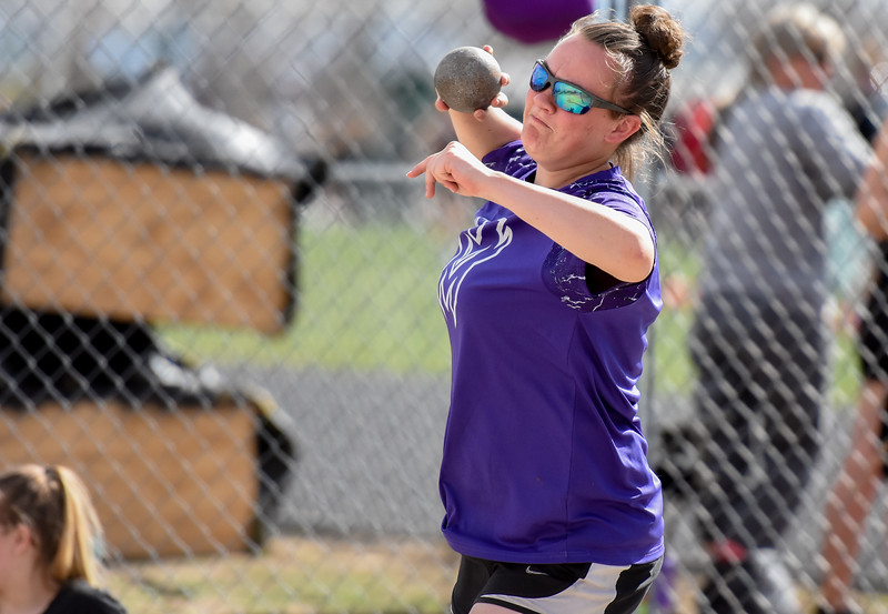 Mountain View's RaLeigh Basart competes in the shot put during the R2J Meet on Thursday April 12, 2018 at LHS. (Cris Tiller / Loveland Reporter-Herald)