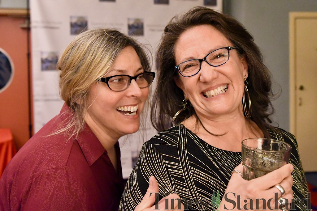 . Photographer Brandi Easter and local film talent head-hunter Laura Montagna share a smile. José Quezada�For the Times-Standard