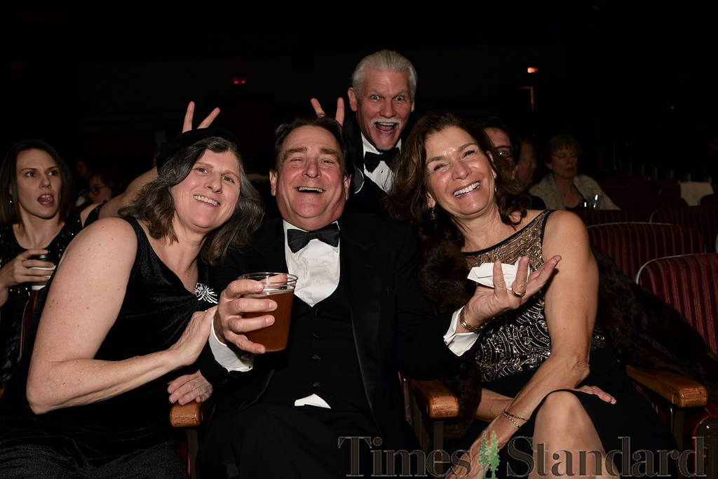 . Mugging for the photographer during the screening of the Oscars are Danielle Tellez, Maggie Kraft, Chris Hemphill, Tom Tellez and Lisa Hemphill. José Quezada�For the Times-Standard