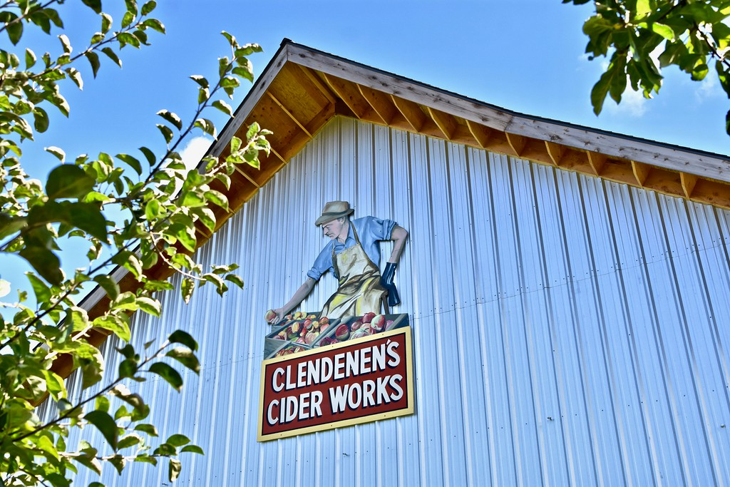 . Clif Clendenen is pictured on this huge mural placed along the cider works off of 12th Street in Fortuna. José Quezada�For Times-Standard
