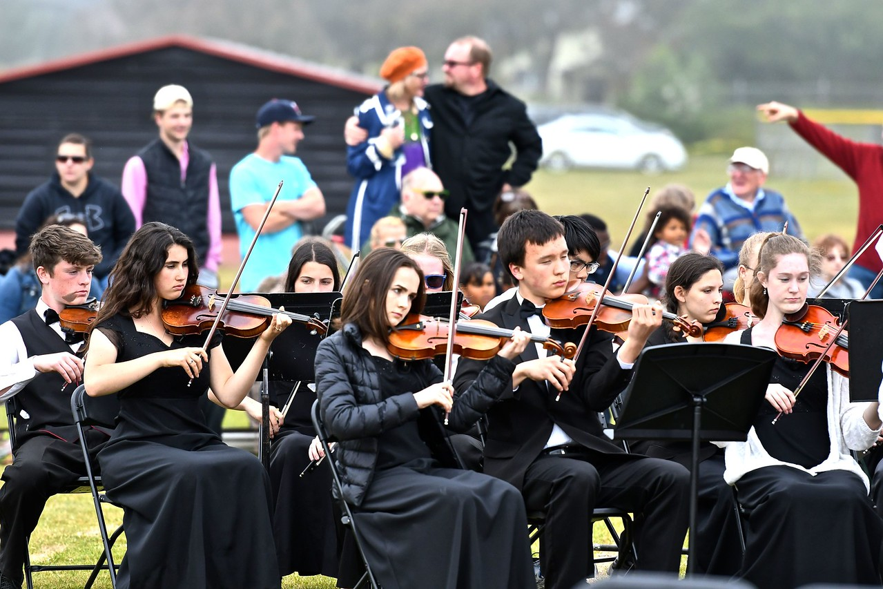 ArMack Orchestra and Band perform for the Arcata High School graduation. (José Quezada—For the Times-Standard)