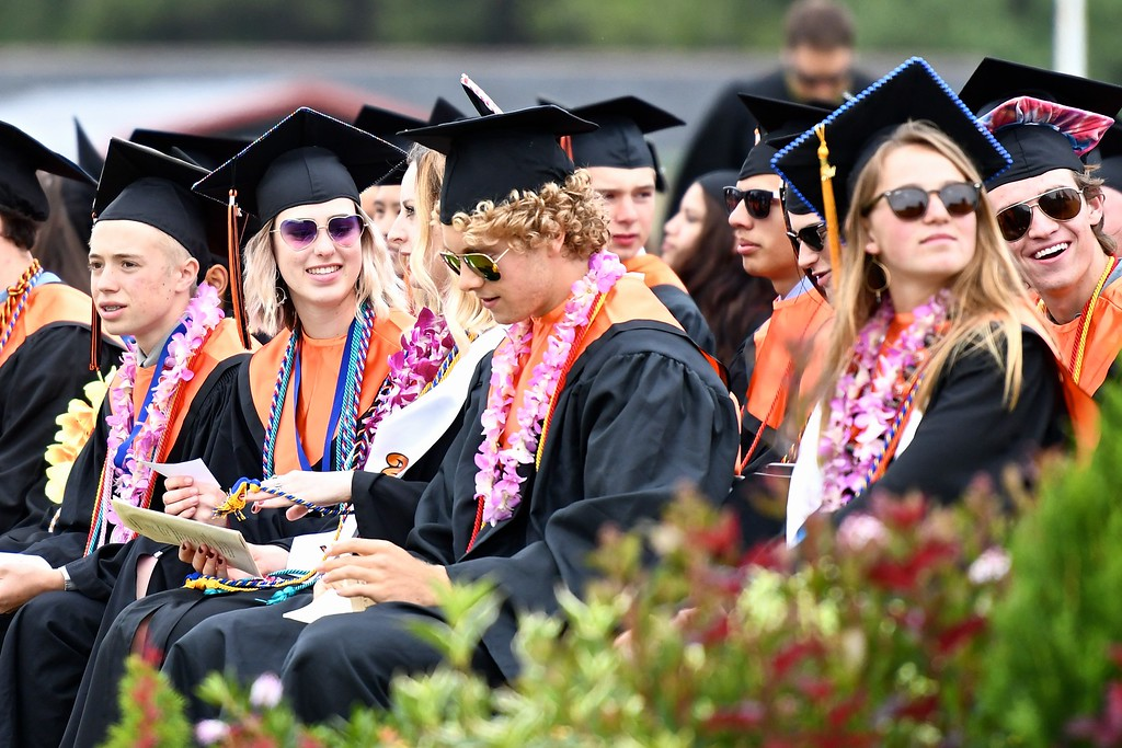 . Students wait for the next class speaker to approach the podium. (José Quezada�For the Times-Standard)